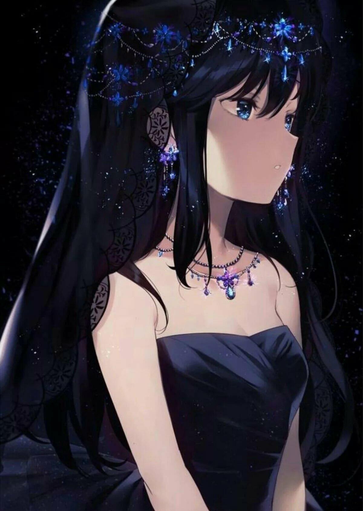Аниме девочка с черными волосами картинки